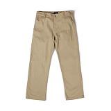 앱놀머씽 - Cotton Straight Pants (Beige) 면바지