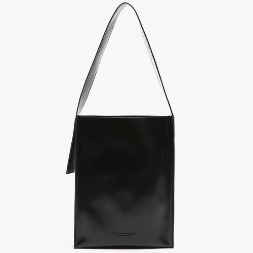 [피스메이커]PIECE MAKER - LEATHER FLAT SHOULDER BAG (BLACK) 레더 숄더백 가죽 가방