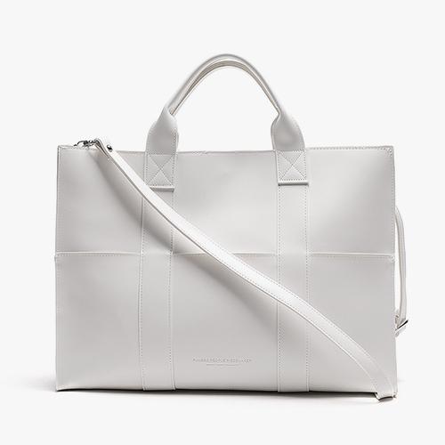 [피스메이커]PIECE MAKER - LEATHER 3WAY POCKET BAG (WHITE) 레더 토트백 숄더백 크로스백 가죽 가방