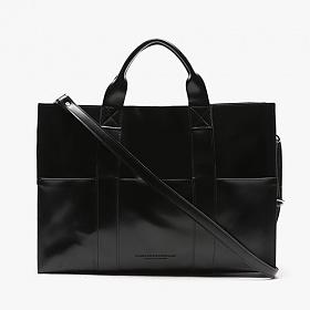 [피스메이커]PIECE MAKER - LEATHER 3WAY POCKET BAG (BLACK) 레더 토트백 숄더백 크로스백 가죽 가방