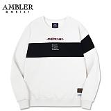 [엠블러]AMBLER CLASSIC 뒷면 자수 프린팅 맨투맨 티셔츠 AMM518-화이트 크루넥 특양면 기모 세미오버핏