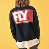 [리플라이퍼키]RE FLY PERKY [UNISEX] 퍼키 플라이 빅 로고 오버핏 스웨트셔츠 (Navy) 맨투맨 크루넥