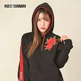 [루찌씬놈]Rucci Ssinnom - 후드티 SHP104 (Black)(기모) 라인 장미 자수 풀오버 후드티 후드 스��셔츠