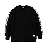 STIGMA - SIDE TAPE OVERSIZED CREWNECK BLACK_맨투맨_크루넥_기모