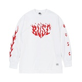STIGMA - FLAME OVERSIZED WAFFLE LONG SLEEVES T-SHIRTS WHITE_긴팔티
