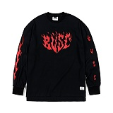 STIGMA - FLAME OVERSIZED WAFFLE LONG SLEEVES T-SHIRTS BLACK_긴팔티