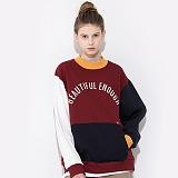 [모티브스트릿] MOTIVESTREET COLOR BLOCK SWEAT SHIRTS BURGUNDY 컬러블록 맨투맨 크루넥 스��셔츠