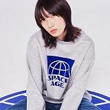 [스페이스에이지] SPACE AGE -  하프 코어 스웨트 셔츠 (그레이) 맨투맨