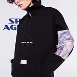 [스페이스에이지] SPACE AGE -  홀로그램 아노락 스웨트 셔츠 (블랙)