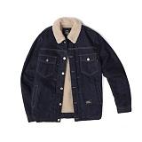 앱놀머씽 - Denim Sherpa Jacket (Navy) 데님 양털 자켓