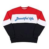 [모티브스트릿] MOTIVESTREET LINE SWEAT SHIRT RED 맨투맨 크루넥 스��셔츠