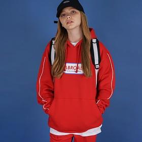 [에이비로드]Oversize Front Logo Hoodie (red) 후드 후드티