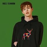 [루찌씬놈]Rucci Ssinnom - 후드티 SHP109 (2color)(기모) 사슴 자수 풀오버 후드 스��셔츠