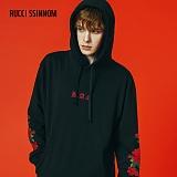 [루찌씬놈]Rucci Ssinnom - 후드티 SHP110 (2color)(기모) 장미 자수 풀오버 후드 스��셔츠