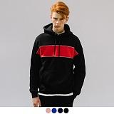 [어커버]ACOVER - ARRANGEMENT COLOR HOODIE 컬러 블럭 기모 오버핏 후드 후드티셔츠