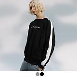[어커버]ACOVER - SIDE LINE SWEATSHIRTS 기모 사이드라인 맨투맨 크루넥 스��셔츠