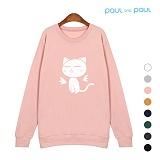 폴앤폴 - 고양이 기모 맨투맨 (남여공용) ACTK-d100
