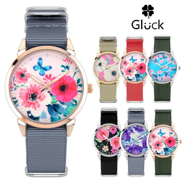 [Gluck]글륵 꽃무늬 여성 패션 나토시계 GL2302F 모음