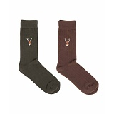 REINDEER SOCKS 2SET (khaki/brown) 자수 양말