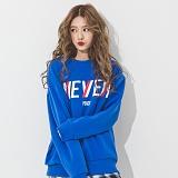 [네버에버] NEVEREVER - NEVER SLOPE SWEAT SHIRT (BLUE) 기모 맨투맨 크루넥 스웨트셔츠