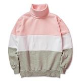 슈퍼레이티브 - 3 TONE 배색 기모 목폴라 - 3배색목폴라 - 핑크