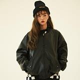 [깅엄버스]GINGHAMBUS - Oversize Leather MA-1 jacket (unisex) 오버사이즈 가죽자켓 레더자켓 항공자켓