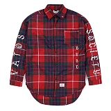 STIGMA - BLACK PANTHER OVERSIZED WOOL CHECK SHIRTS RED 긴팔남방 워크셔츠