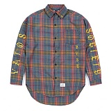 STIGMA - BLACK PANTHER OVERSIZED WOOL CHECK SHIRTS BLUE 긴팔남방 워크셔츠