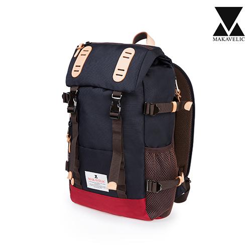 [마카벨릭]MAKAVELIC - DOUBLE BELT DAYPACK ZONE MIX BACKPACK (DARK NAVY/RED) 백팩 배낭 가방