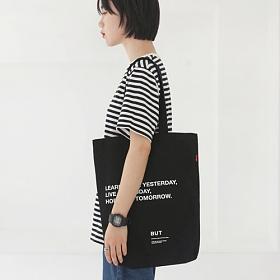 [벗딥]BUTDEEP - LEARN ECO BAG-BLACK 에코백 캔버스 숄더백