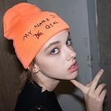 [비에이블투]BABLETWO 시그니쳐 자수 비니 (오렌지) 롱비니