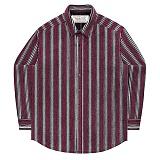 [언더에어] UNDERAIR Love Signal Shirts - Burgundy 긴팔 스트라이프 셔츠 남방