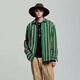 [언더에어] UNDERAIR Love Signal Shirts - Green 긴팔 스트라이프 셔츠 남방