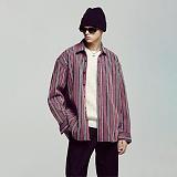 [언더에어] UNDERAIR Love Signal Shirts - Pink 긴팔 스트라이프 셔츠 남방