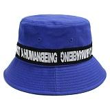 [아임낫어휴먼비잉]IAMNOTAHUMANBEING BASIC LOGO TAPE BUCKET HAT BLUE 테이프라인 버킷햇 벙거지