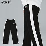 [엠블러]AMBLER 신상 기모 트레이닝 팬츠 AP205-블랙 자수 스��팬츠 추리닝 사이드라인