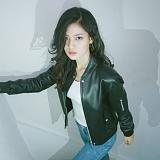 [슬로우유니버스] (WOMAN) lambskin MA-1 leather rib jacket (Black) 양가죽 레더자켓 재킷