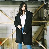 [슬로우유니버스] (UNISEX) oversized suede mouton coat (Black) 오버사이즈 스웨이드 무톤 코트 무스탕