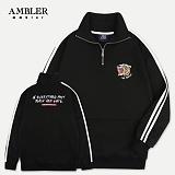 [엠블러]AMBLER 신상 자수 하프집업 기모 아노락 ANO101-블랙 사이드라인 져지
