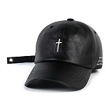 STIGMA - CALIPH ASH X STIGMA LEATHERETTE BASEBALL CAP BLACK 야구모자 볼캡 가죽