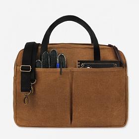 [모노노] MONONO -Vintage Brief Bag Wax Canvas Camel 왁스 캔버스 브리프 케이스 토트백