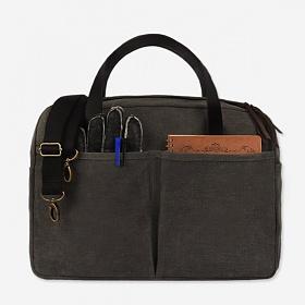 [모노노] MONONO -Vintage Brief Bag Wax Canvas Charcoal 왁스 캔버스 브리프 케이스 토트백 토트백 숄더백