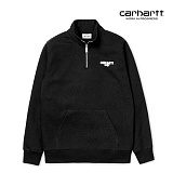 [칼하트WIP] CARHARTT WIP - Shatter Script Sweatshirt (Black / White) 기모 하프집업 맨투맨 아노락 스��셔츠