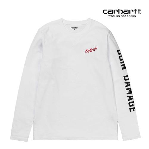 [칼하트WIP] CARHARTT WIP - L/S DOIN DAMAGE T-SHIRT (White) 레터링 롱슬리브 긴팔티