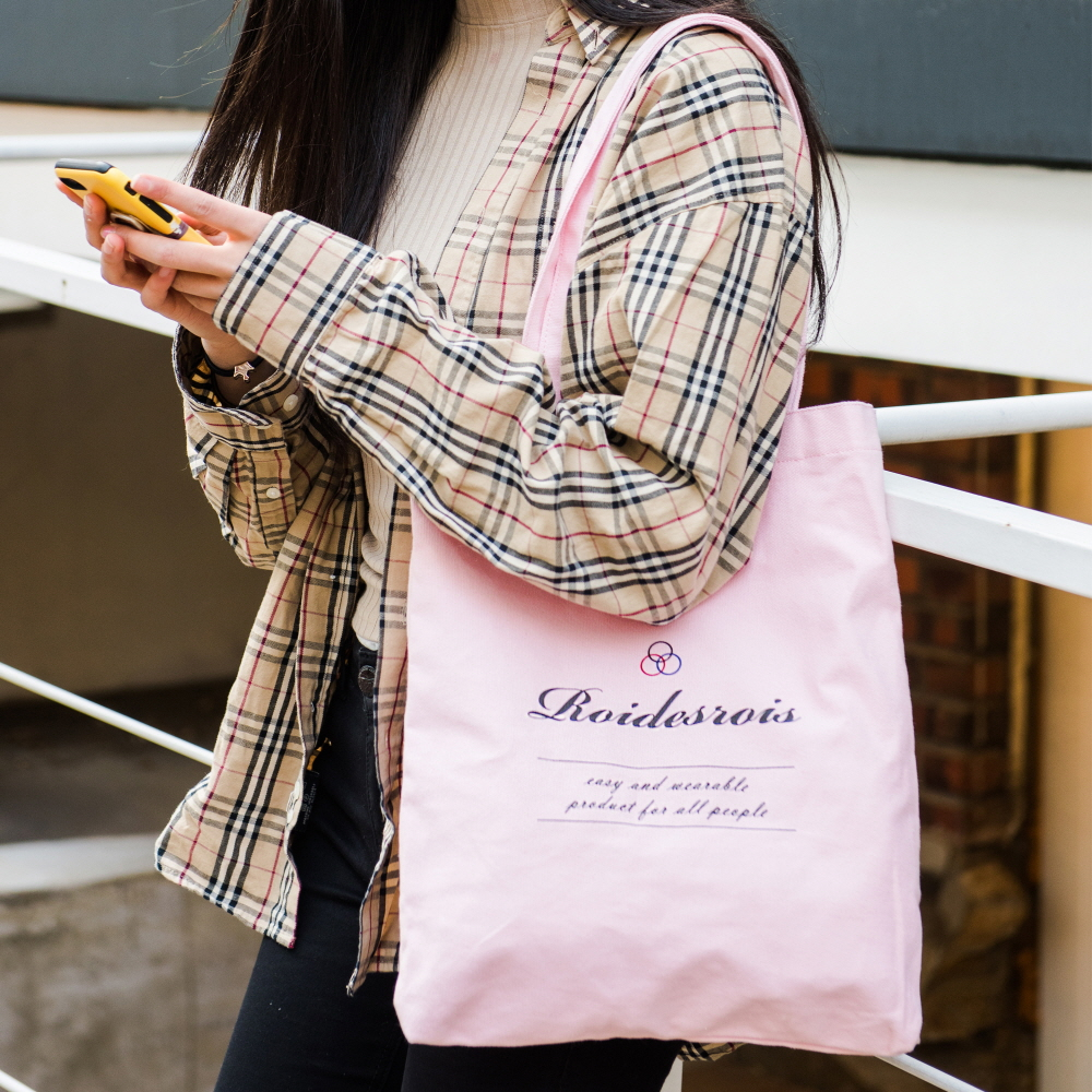 [로아드로아]ROIDESROIS - BASIC LOGO ECO BAG (PINK) 가방 에코백