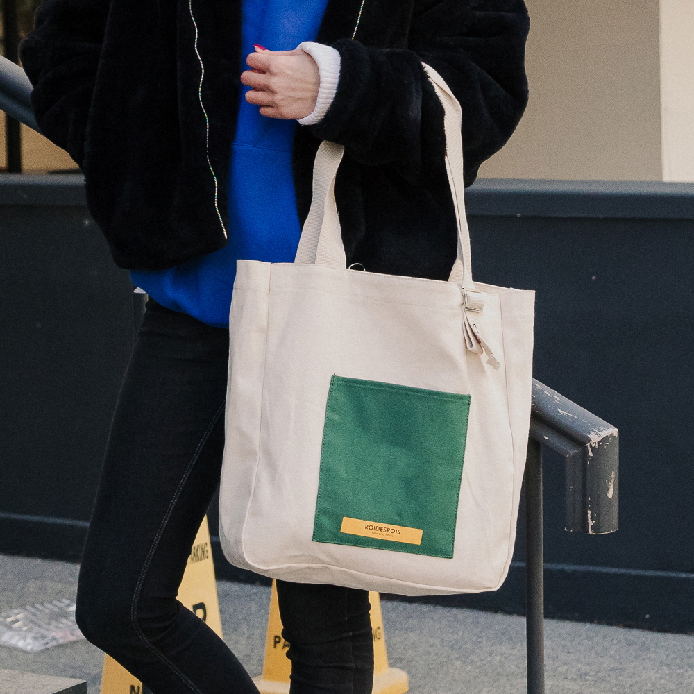 [로아드로아]ROIDESROIS - COLOR BLOCK SHOULDER BAG (IVORY) 가방 숄더백 에코백