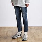 [쟈니웨스트] JHONNYWEST - Washed Cut Basic Jeans 워싱 커팅 진 청바지 데님팬츠