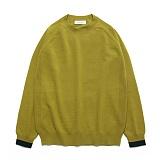 라퍼지스토어 - (Unisex)Line Cashmere Round knit_Willow 캐시미어 니트