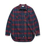 라퍼지스토어 - (Unisex) Wool Tartan Check Shirt Red Navy 타탄체크셔츠