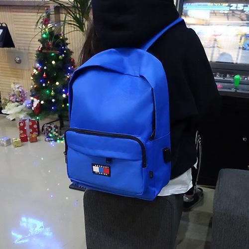 [에이비로드] 시그니처 베이직 USB 백팩 (blue) 백팩